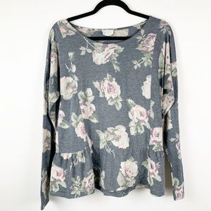 1.43 Story by Lineup Peplum Long Sleeve Floral Top